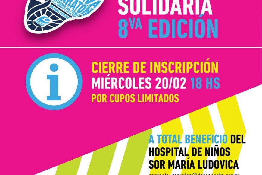 Maratón Solidaria: cierra la inscripción