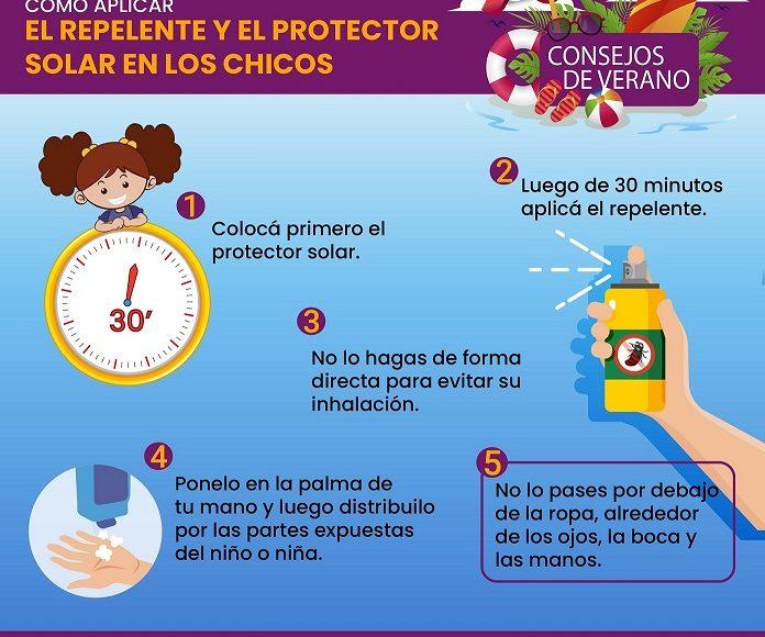 Recomiendan cómo aplicar protector solar y repelente contra mosquitos